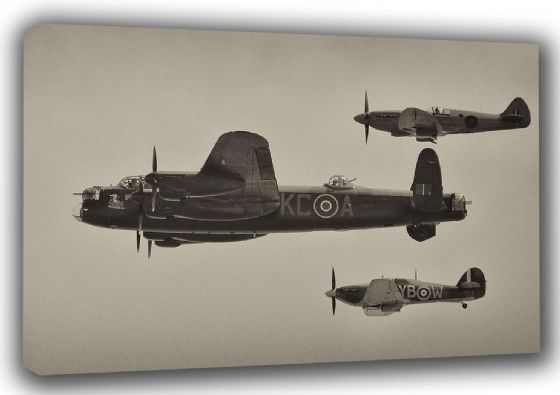 Lancaster, Spitfire and Hurricane. Battle of Britain Memorial Flight. Military Aircaft/Aviation Canvas. Sizes: A3/A2/A1 (003486)